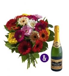 Combi deal: Boeket bloemen & een heerlijke fles bubbels